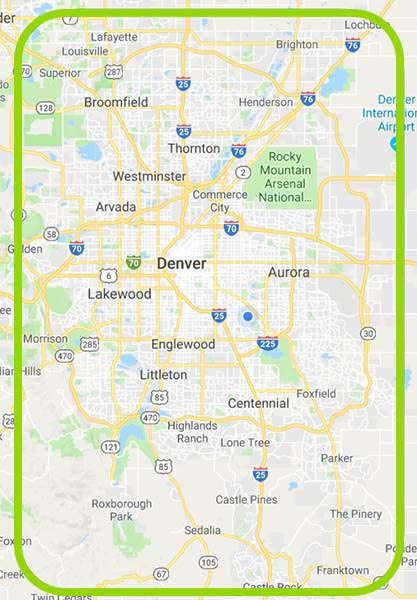 Map of house cleaning service area Denver