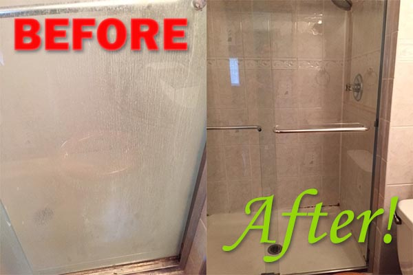 Shower cleaning before and after